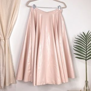 H&M Faux Leather Blush Pink A Line Circle Skirt
